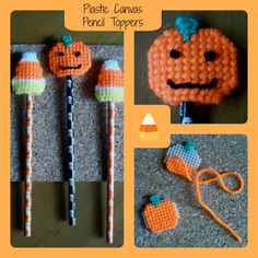 "Plastic Canvas: Candy Corn and Jack o' Lantern Pencil Toppers (Note: Pumpkins based on a pattern from Holiday Bazaar Bestsellers: ""Holiday Baking Cup Baskets"", e-PatternsCentral.com)"