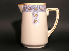 Longwy France Water Pitcher With Flowers - French Vintage 1930s by LArriereBoutique on Gourmly