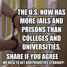 Where emphasis and money are laid, so our future is determined. Prison industrial complex, money over lives, excessive arrests, out of control