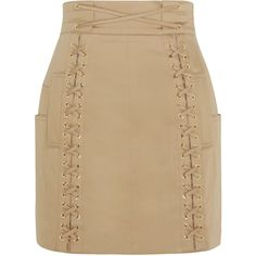 Balmain - Lace-up Stretch-cotton Canvas Mini Skirt ($634) ❤ liked on Polyvore featuring skirts, mini skirts, sand, balmain skirt, beige mini skirt, zipper mini skirt, lace up skirt and beige skirt