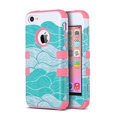 Carcasa iPhone 5c ULAK iPhone 5C caso case funda hñbrida resistente Suave TPU y…