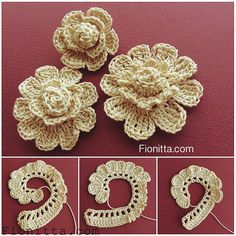 You can find more step by step here: Crochet flowers