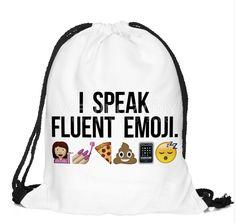774d28e63a Back to School I Speak Fluent Emoji Pattern Funny Drawstring Bag Backpack