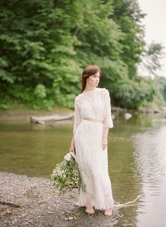 vintage inspired bridal lace dress - delicate and romantic wildflower wedding ideas