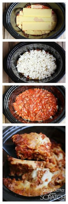 Lasagna just got soo much easier with this Slow Cooker Lasagna! Layer everything in the crockpot--even UN-COOKED noodles! | tastesbetterfroms... via Lauren {Tastes Better From Scratch}