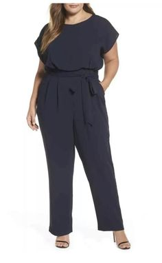 Find Eliza J Tie Waist Crepe Wide Leg Jumpsuit (Plus Size) online. Shop the latest collection of Eliza J Tie Waist Crepe Wide Leg Jumpsuit (Plus Size) from the popular stores - all in one Plus Size Womens Clothing, Plus Size Fashion, Clothes For Women, Size Clothing, Looks Plus Size, Plus Size Model, Plus Size Skirts, Plus Size Outfits, Plus Size Pants
