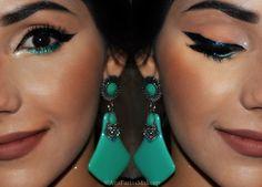 Diário da Moda: Dica da Blogueira: Delineador em glitter da Yes Cosmetics + glitter + maxi brinco + brinco de acrilico + batomnude +  make pro dia