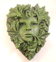 Primavera Green Woman Wall Plaque Heart shaped Greenwoman Garden or Home Decor