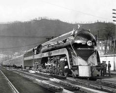 """capewolfe: """"Powhatan Arrow on displayNorfolk & Western Class J 4-8-4 No. 609 stands with a set of new cars for the Powhatan Arrow at Williamson, W.Va., during a 1950 display tour. N&W photo """""""