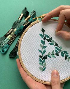 Leafy Letters cross-stitch kit