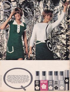 'Co-ordinated Quant' - PETTICOAT magazine May Original article by Eve Pollard, Photographs by Nigel Redhead & Michael Legge. 60 Fashion, Fashion Beauty, Fashion Outfits, Retro Ads, Vintage Ads, Vintage Photos, 1970s Clothing, Vintage Clothing, Mary Quant