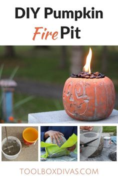 DIY Concrete Pumpkin Fire Pit / Halloween Event Incredible DIY Fire Pit that's super easy. Easy DIY for Halloween decor, #Quikrete #Pumpkin #Fall #Halloween2017 #DIY #Firepit #Concrete #Pumpkins @ToolboxDivas #toolboxdivas @quikrete via @Toolboxdivas