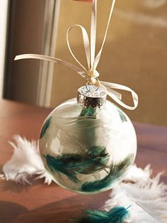 "Feather's in a globe, simple and pretty. I want to do all of these ""ornament"" designs, but with regular globe balls for year-round decor ideas.."