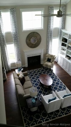 Revere Pewter Living Room, Navy Rug, Custom Window Treatments