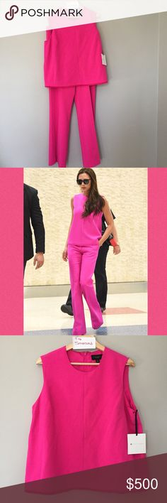 Victoria Beckham Target Fuchsia tank pants set XL Rare matched set of the tank in XL and pants in 12, new with tags in hand ready to ship! Check out the other pieces available! I also have the bottoms in 8 and 10. Victoria Beckham Pants Boot Cut & Flare