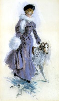 A WINTER PROMENADE 1905, watercolor on illstration board  signed and dated lower left Scribner's Magazine  1907