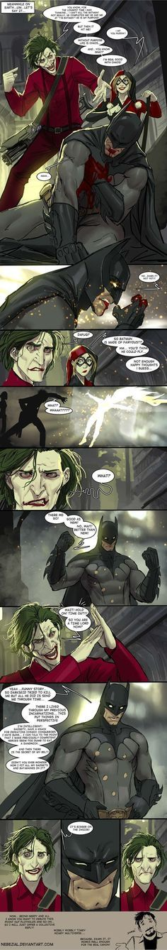 What If Batman Was A Time Lord.(Yes, Batman and Doctor Who) sorry.a cross over.this is very funny. Nightwing, Batgirl, Catwoman, Time Lords, Joker And Harley, Harley Quinn, Doctor Who, Héros Dc Comics, Gotham Comics