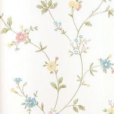 Saavedra. Papel de estilo floral liberty en tonos pastel para ambientes romántico sobre superficie lisa #decoracion #papelpintado #flores