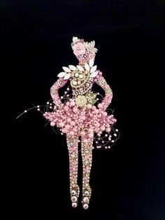Ballerina Dancer - Vintage Jewelry Wall Art - Jeweled Ballerina - Vintage Jewelry Ballerina - Jewelry Wall Art - Home Decor - Petal