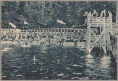 Opening zwemtoren bij zwembad in de Singel; 1934.