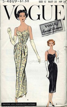 Vogue S-4809 Vintage 1950s Dress Pattern Cocktail or Evening Gown by sydcam123
