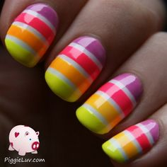 Neon striped gradient by PiggieLuv from Nail Art Gallery