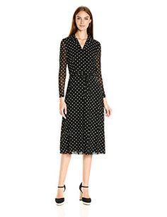 c99bdaaca5 Anne Klein Women s Printed Mesh Belted Shirt Collar Dress