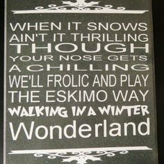 Walking in a winter wonderland sign. It's done in a black background and amazingly fine glitter finish. Pretty and simple. Thanks for looking. See more of what I do at http://artsolovely.storenvy.com or https://www.etsy.com/people/artsolovely.
