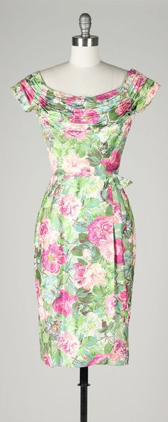 vintage 1950s dress . polished cotton . pink by millstreetvintage