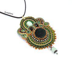 Green statement pendant green necklace soutache by Soutacherie