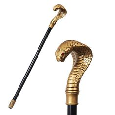 ANCIENT EGYPTIAN CULTURE COBRA SNAKE WALKING CANE PROP ACCESSORY. Jafar's Staff