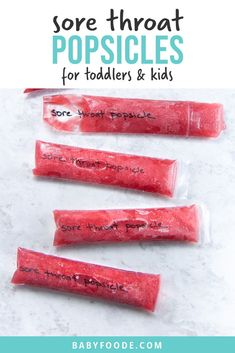 Sore Throat Popsicles - are the perfect frozen treat to give your toddler or kid when they are under the weather or have a sore throat! Made with 5 immune boosting ingredients, these popsicles are loa Toddler Meals, Kids Meals, Toddler Recipes, Toddler Food, Kitchen Recipes, Baby Food Recipes, Drink Recipes, Sick Toddler, Natural Electrolytes