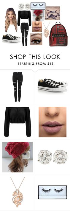 """macys school outfit"" by alissaoriginal on Polyvore featuring Topshop, Converse, LASplash, LE VIAN, Huda Beauty and MCM"