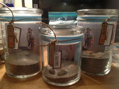 Beach/vacation memory jars I made...from a trip to Cocoa Beach, FL March 2013 =)
