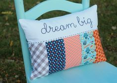 Dream Big space and robot themed boy nursery pillow by TaDa! Creations