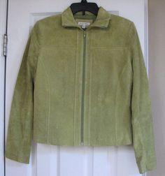 Yvonne Marie Leather Suede Women Solid Green Lined Jacket 4 Zip #YvonneMarie #BasicJacket