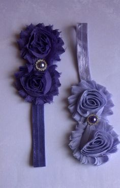 Set of Two Shabby Chic FLower Two Headbands by SuperCrochetMom, $8.95