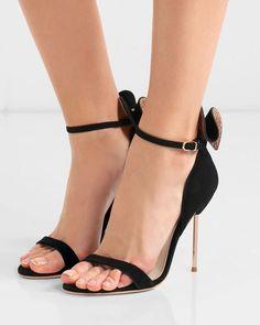 d9d9e150d52 SOPHIA WEBSTER Maya bow-embellished suede sandals. Gold StilettosStiletto  HeelsSuede SandalsShoes SandalsBhldnSophia WebsterBlack SuedeAnkle StrapDust  Bag