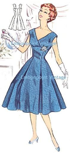Vintage 1950s Evening Dress Pattern - PDF - Pattern No 115 Roberta. $10.20, via Etsy.
