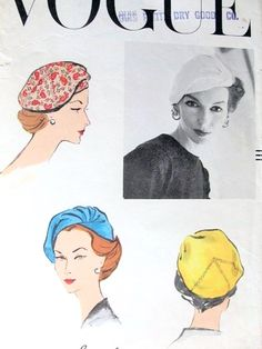 RESERVED 1950s Sally Victor Original Hat Pattern Vogue 9093 Flirty Side Draped Sectional Hat Chic Style Vintage Sewing Pattern