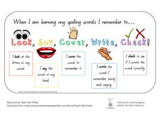 LOOK/SAY/COVER/WRITE/CHECK- poster to put in the classroom to remind the students what to do when learning spelling words. Word Wall Kindergarten, Kindergarten Reading, Look Cover Write Check, 2nd Grade Spelling Words, Spelling Bee, 2nd Grade Classroom, Classroom Ideas, First Year Teaching, Spelling Activities