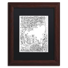 KCDoodleArt 'Fallen Tree' Matted Framed Art