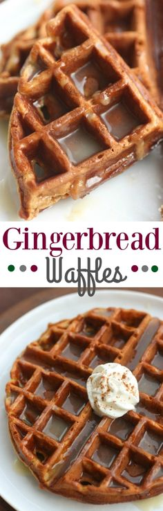 Gingerbread Waffles with Vanilla Cream Syrup are perfect for a fun holiday breakfast. They are super easy to make from scratch and taste delicious!| Tastes Better From Scratch
