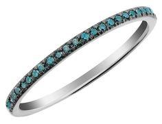 Blue Diamond Band 1/10 Carat (ctw) in 10K White Gold, Women's, Size: 5
