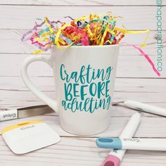 Crafting Before Adulting Coffee Mug / Custom Vinyl / Coffee Tea Cup / Crafts DIY / Turquoise by HapaCreationsCo on Etsy https://www.etsy.com/listing/551984237/crafting-before-adulting-coffee-mug