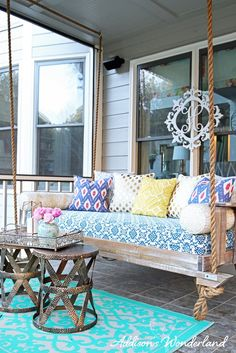 The finale of our back porch remodel and the reveal of our new outdoor vintage porch swing from Vintage Porch Swings!