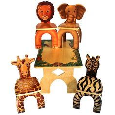 A cute and adorable addition to your kid's room furniture! The Safari Table and Animal Chairs features beautiful drawings of animals on top of the table that provides a fun and imaginative environment for children to read, draw, write, or even play. It comes with 4 cute animal chairs: Lion, Zebra, Elephant and Giraffe.  Lovely finish, strong, functional and artfully designed. Chairs are strong and stable, easily holding toddlers as well as adults. Your kids will surely love it!