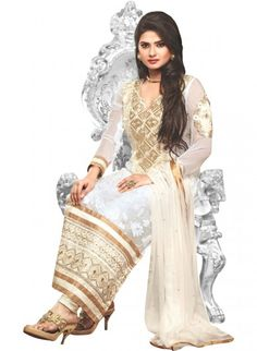 White Georgette and Pure Dupion Straight Cut Kameez and Churidaar
