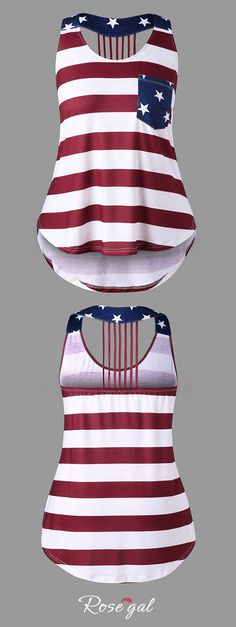 #PlusSize #AmericanFlag High Low #TankTop - Xl #4ofJuly