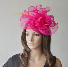 Fuchsia/Hot Pink Big sinamay hat fascinator w/feathers,veiling,sequin